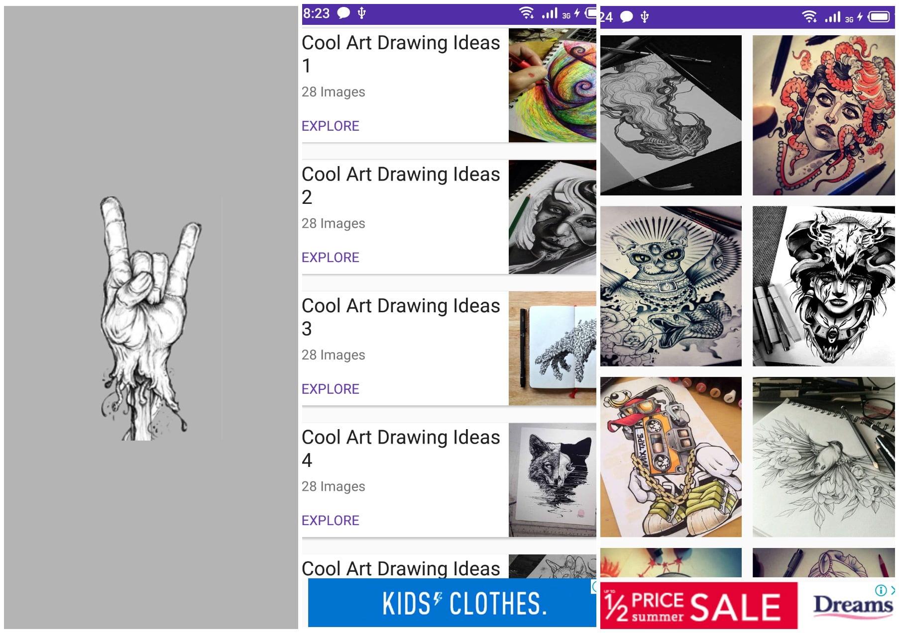 На фото изображено приложение Cool art drawing ideas