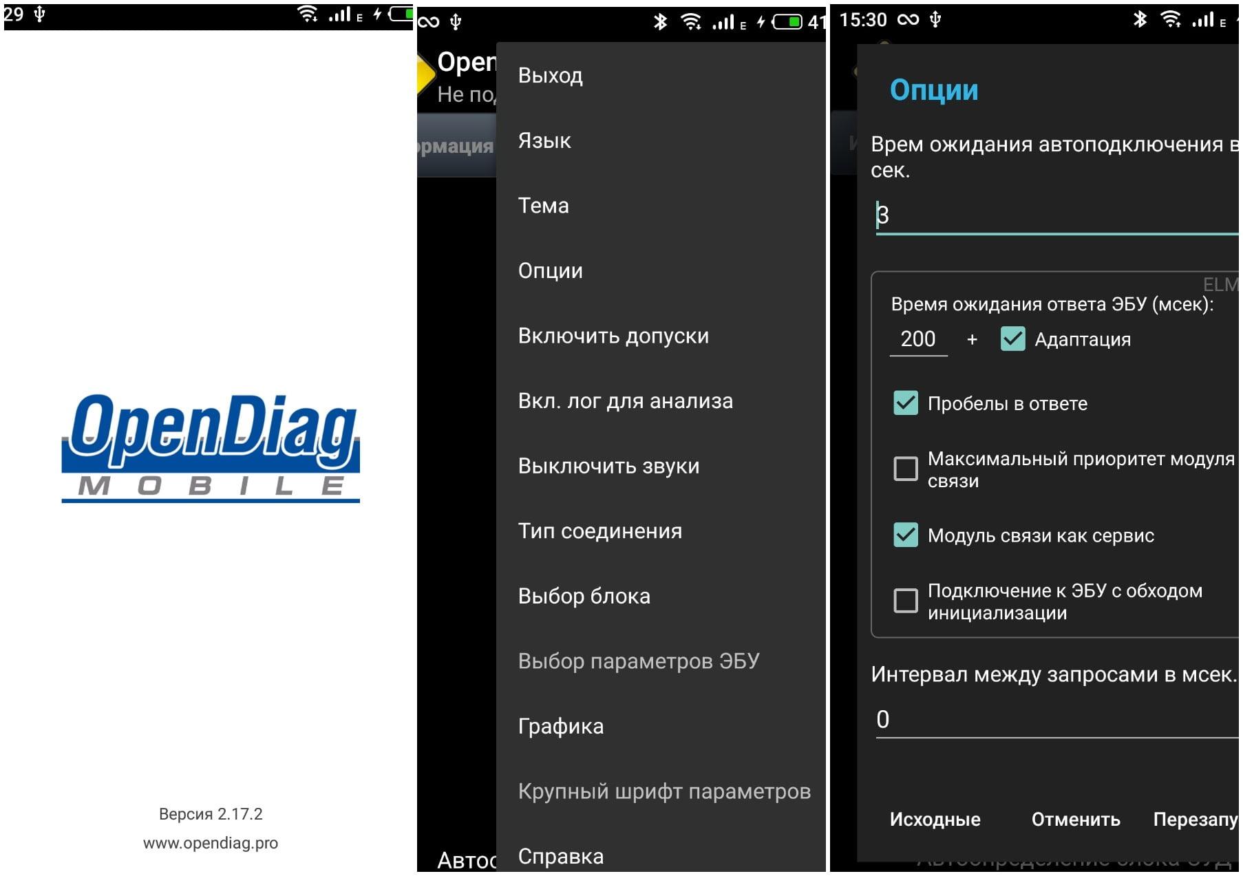 На фото приложение Opendiagmobile