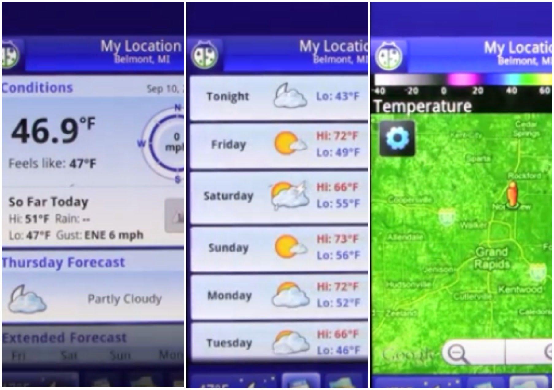 На фото изображено приложение Weather bug