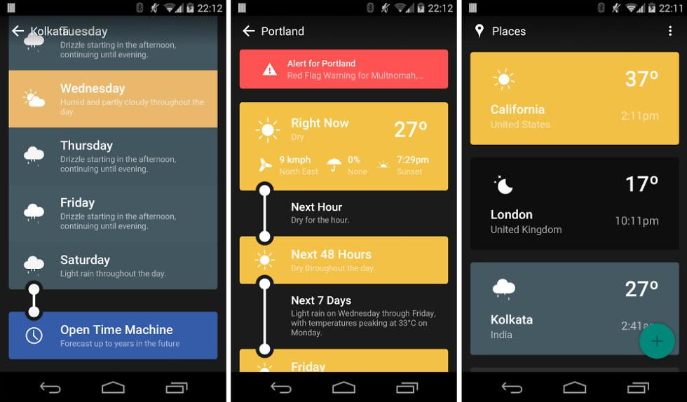 На фото приложение Weather Timeline
