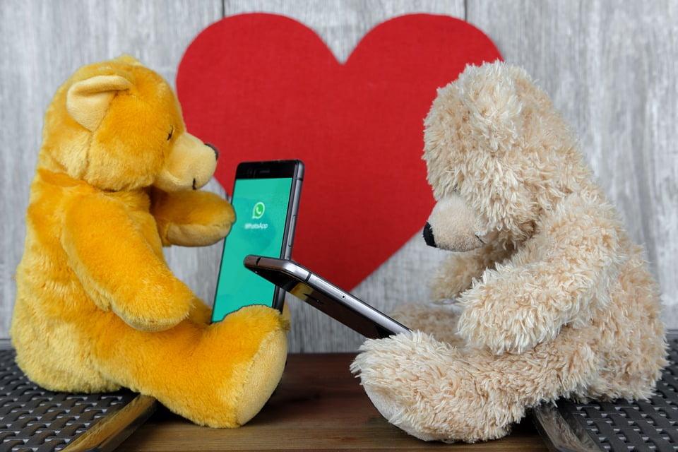 На фото два медвежонка с телефонами