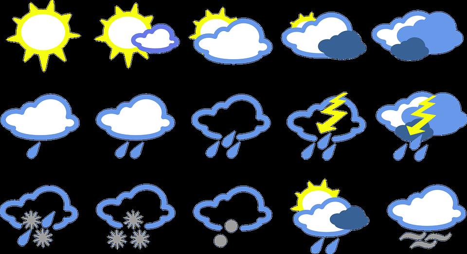 На фото изображены иконки прогноза погоды