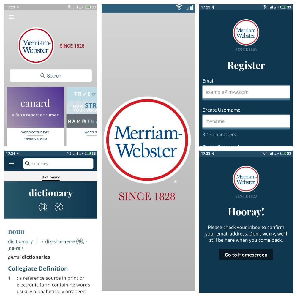 На фото приложение переводчик Merriam Webster Dictionary.