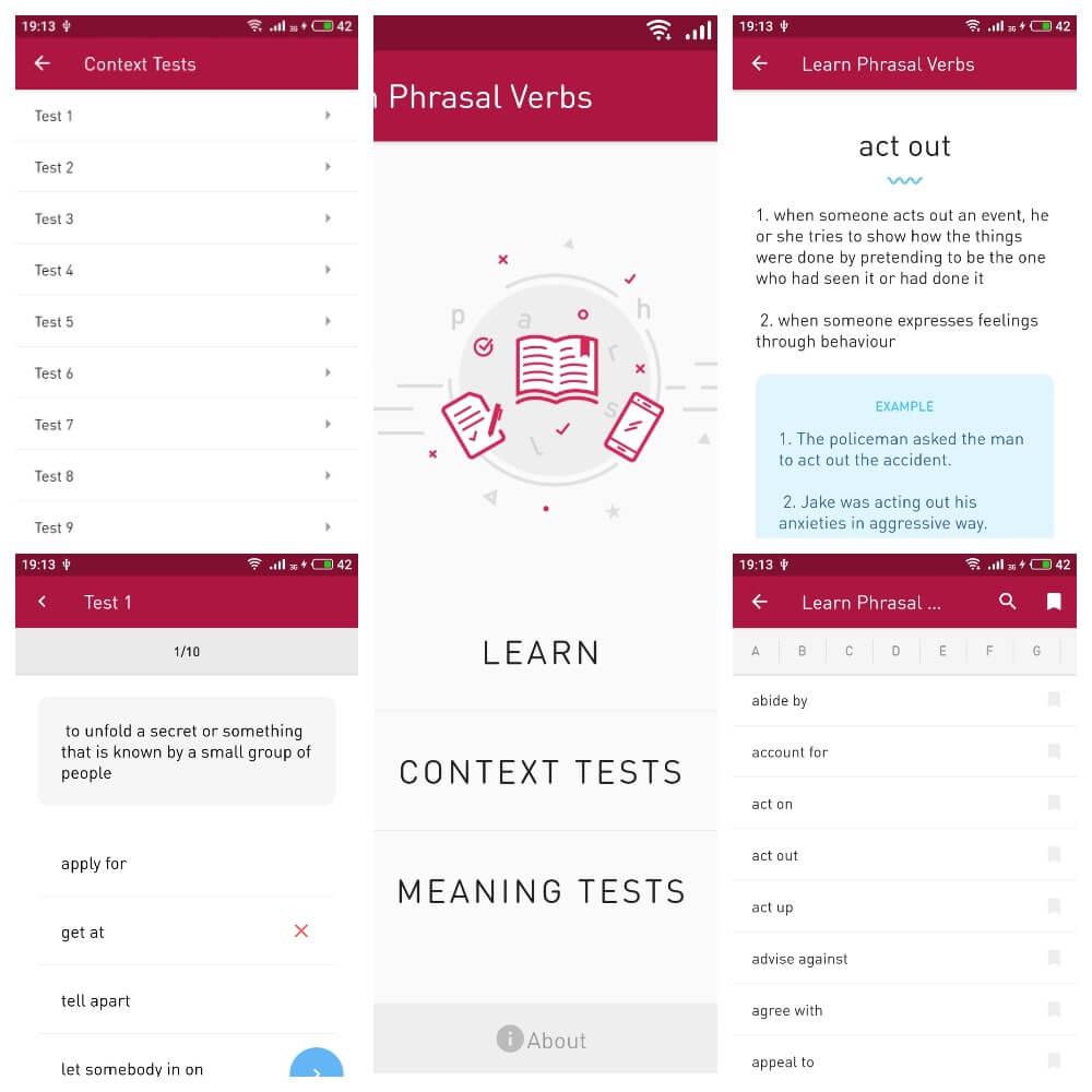 На фото изображены скриншоты приложения English Phrasal Verbs.