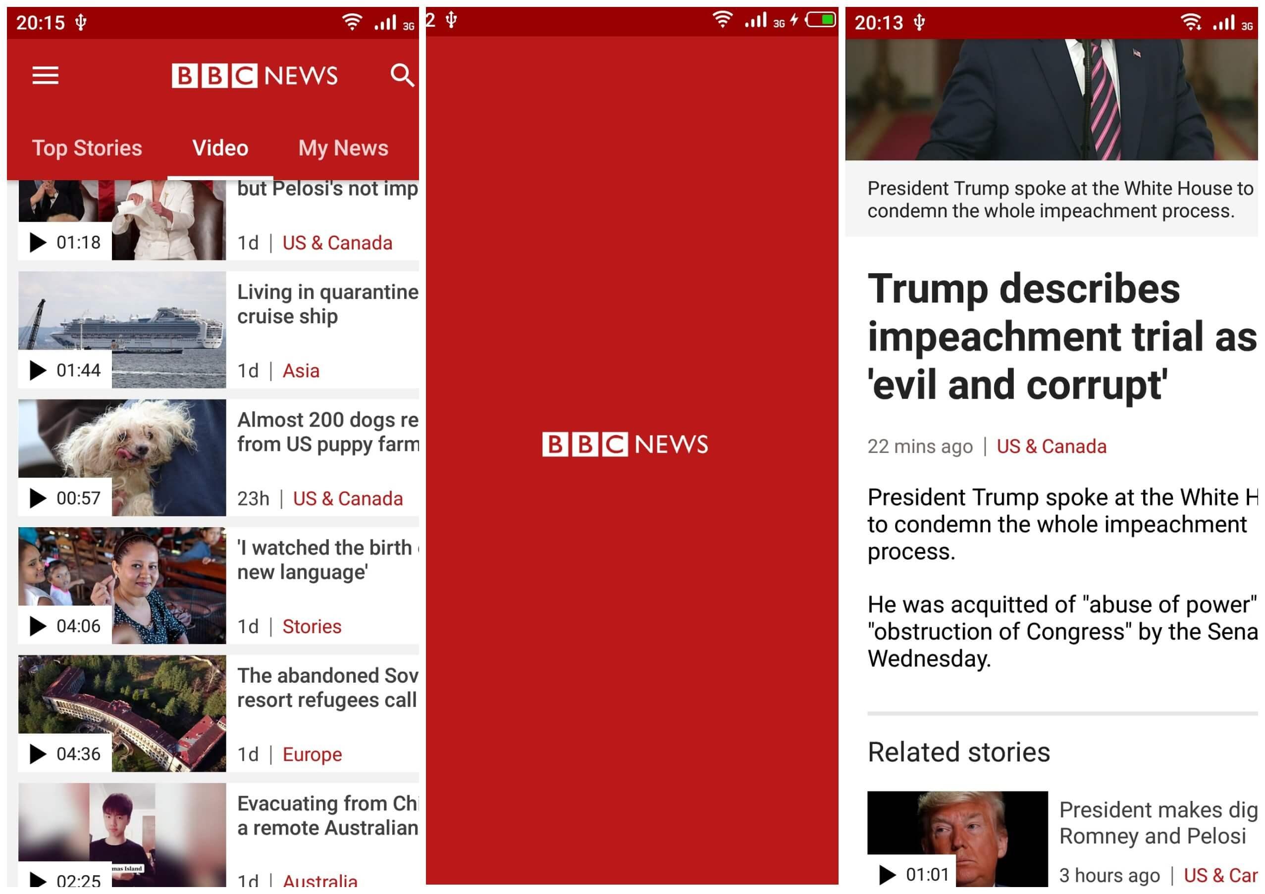 На фото скриншоты приложения BBC News.