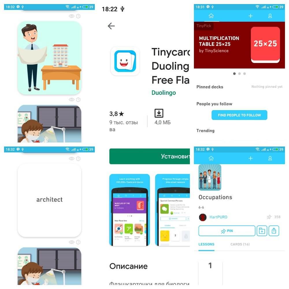 На фото изображены скриншоты приложения Tinycatds.