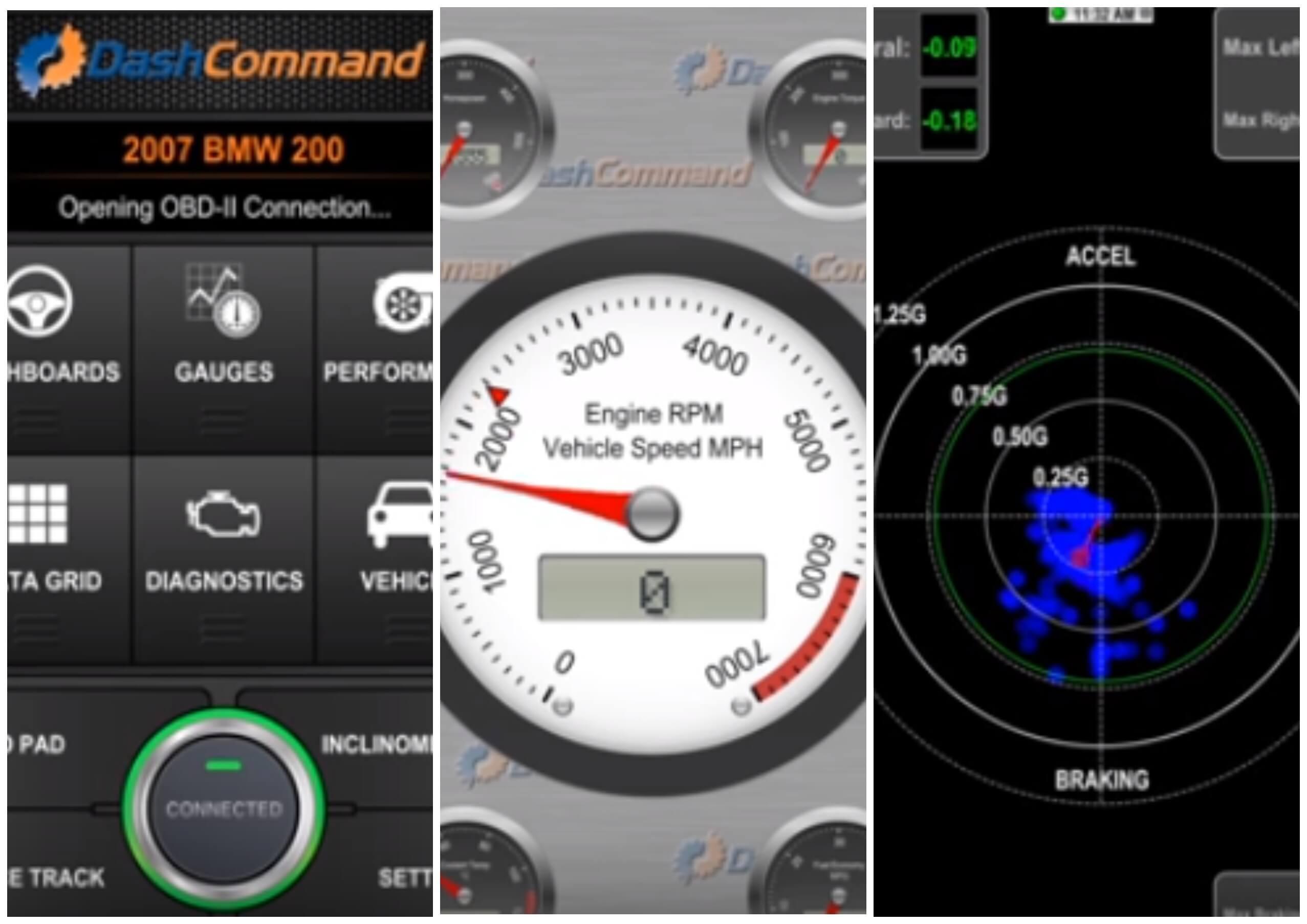 На фото изображено приложение DashСommand для диагностики машины.