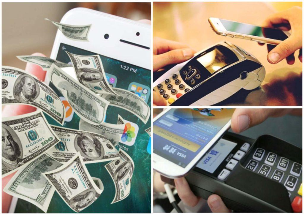 На фото изображено, как оплачивают картой с телефона.