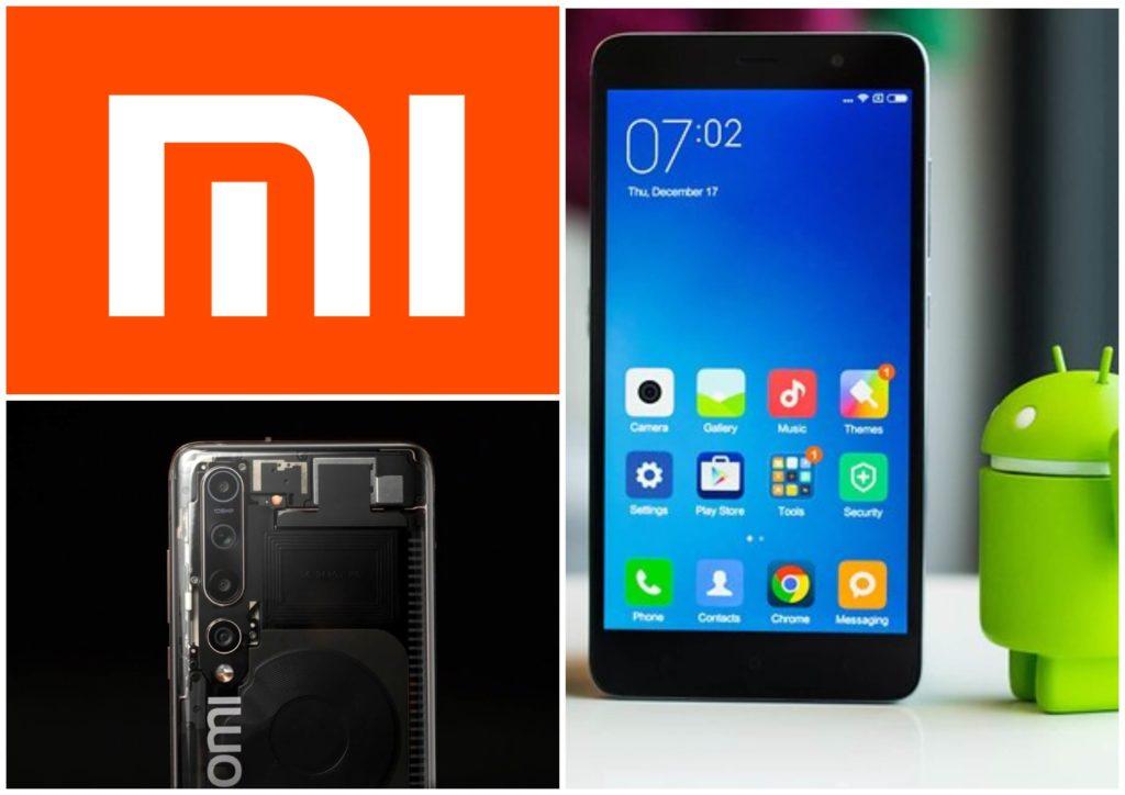На фото изображен телефон с прозрачным корпусом от Xiaomi и эмблема бренда.