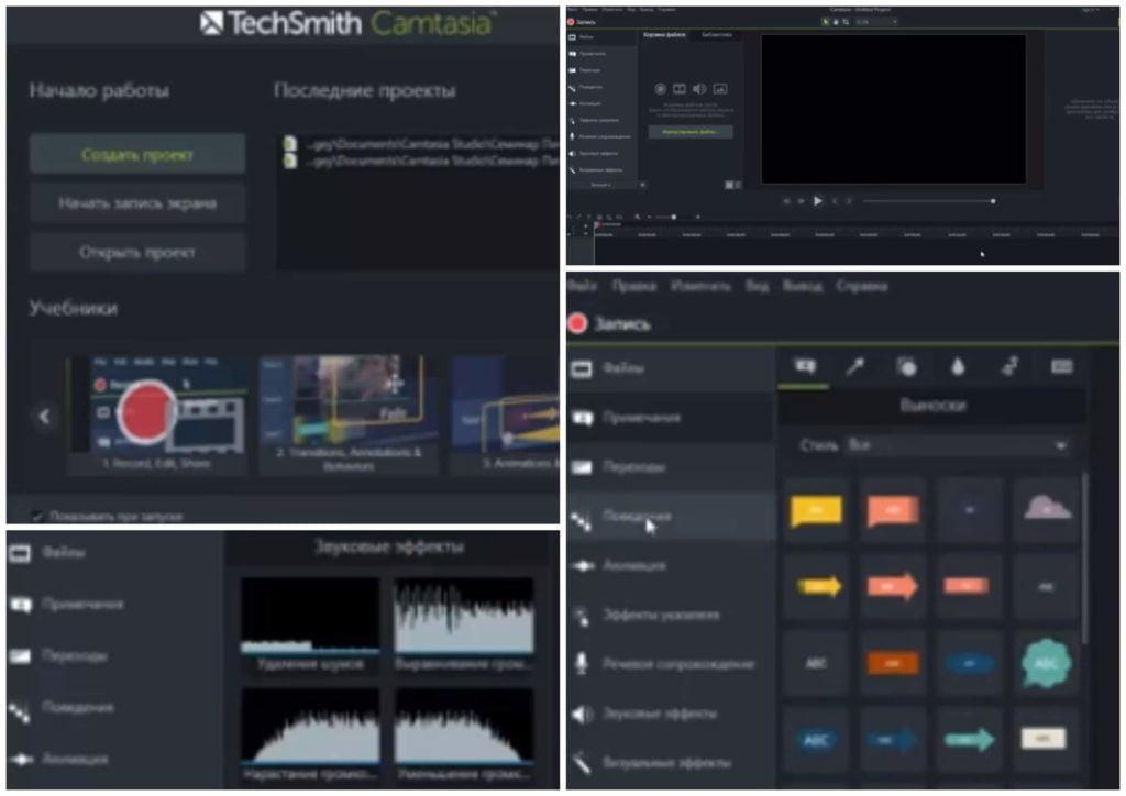На фото изображена программа Camtasia Studio для записи видео с монитора.
