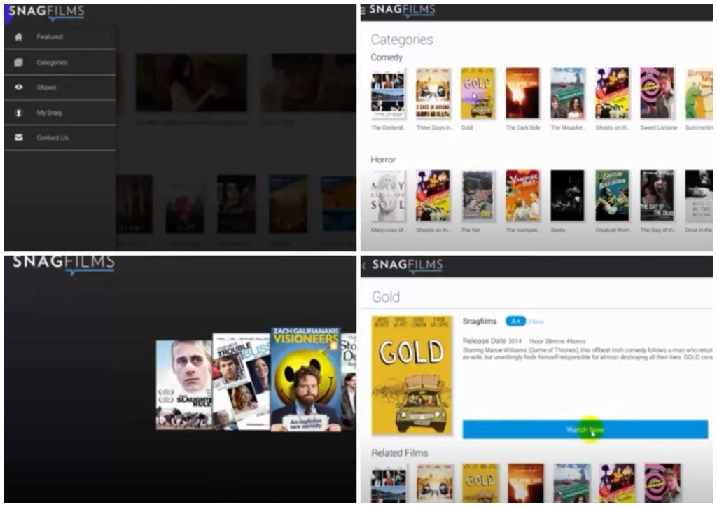 На фото изображено приложение SnagFilms.