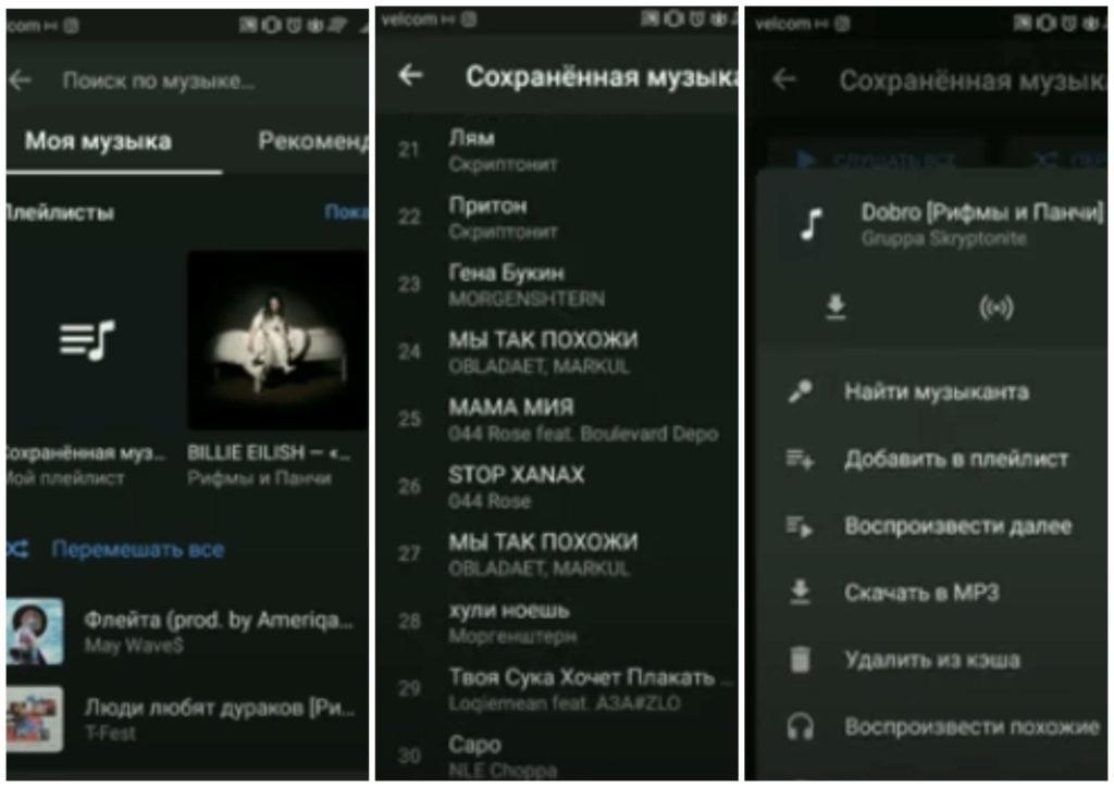 На фото изображено специальное приложение от ВКонтакте для прослушивания музыки в оффлайн.