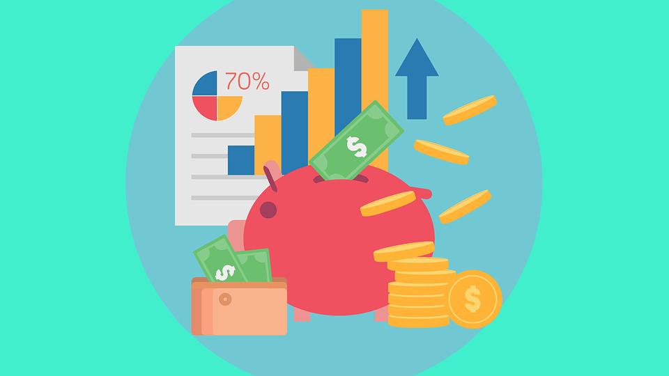 На фото изображена копилка, график роста и деньги.
