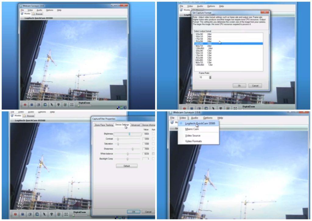 На фото изображена программа Webcam Surveyor.