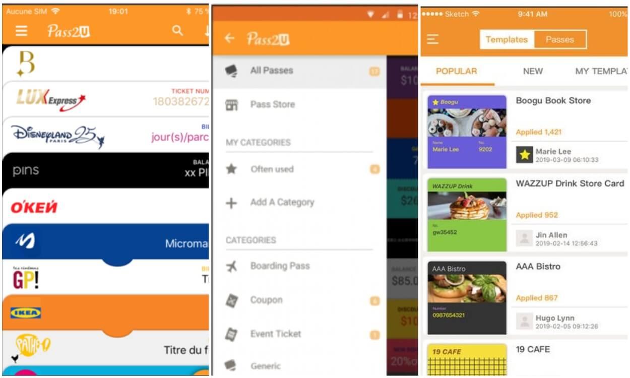 На фото изображено приложение Pass2u wallet.