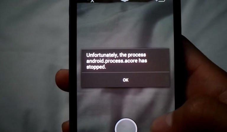 На фото изображена проблема с процессом android process acore