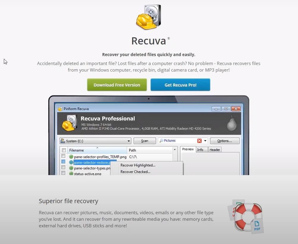 На фото изображена программа Recuva.