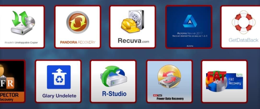 На фото изображены программы для восстановления данных.