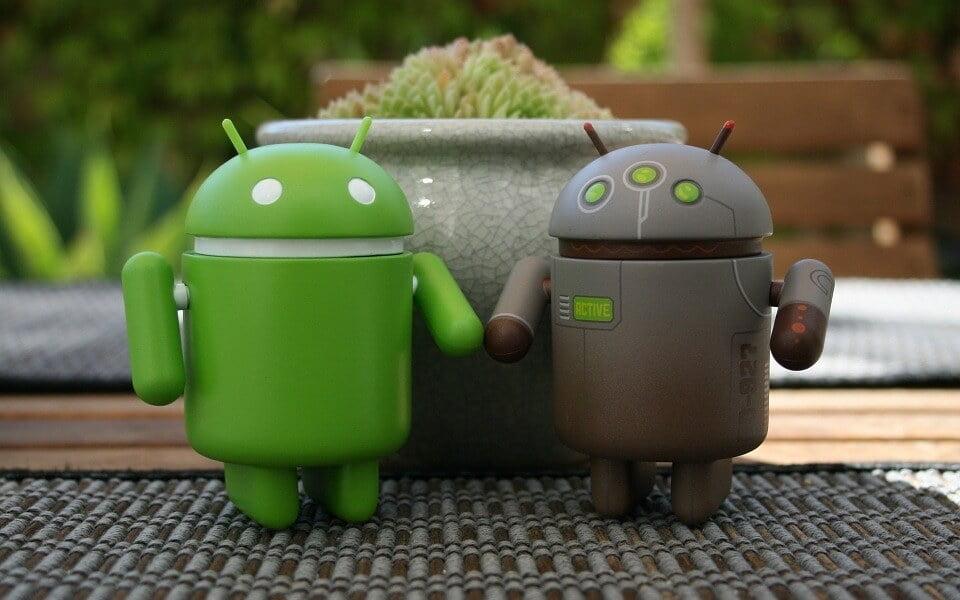 На фото изображена пара роботов андроидов.